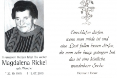 Magdalena-Rickel-Sterbebildchen